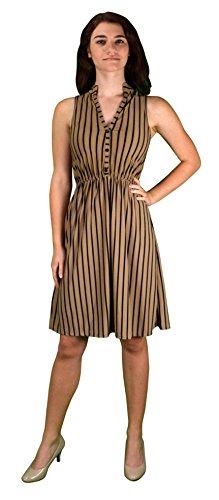 Peach Couture Vintage Pinstripe Button Up Sleeveless Shift Dress Brown Medium