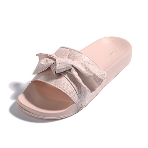 a39c6378c FITORY Womens Slides, Bow Sandals with Arch Support Comfortable Beach  Slippers for Summer
