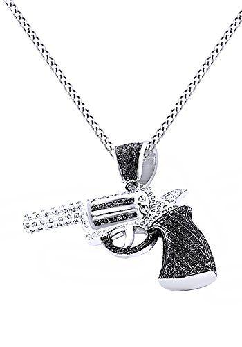 Round Cut Black & White Cubic Zirconia Revolver Hip Hop Pendant in 14k White Gold Over Sterling Silver (9.5 Cttw) by AFFY