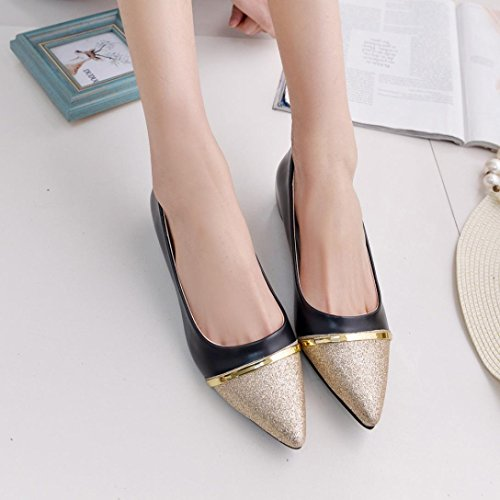 HLHN Women Shoes, Pointed Toe Elegant Low Flat Heel Ankle Casual Office Business Fshion Ladies Black