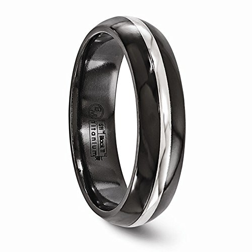 Edward Mirell Black Titanium with 14K White Gold Inlay Domed 6mm Wedding Band - Size 11