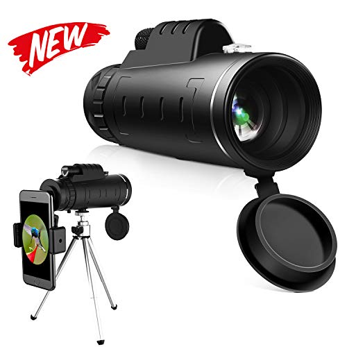 High Power Hd Monocular Telescope - 40×60 BAK4 Prism Monocular Scope  Waterproof and Anti-Fog with Retractable Eyepiece and Fully Versatile Coated Optical Glass Lens + Phone Clip+Tripod (M)