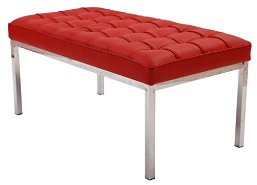 Florence 2 Seater Bench. Red Italian Leather, Multi Density Foam Cushion & Fire Retardant (2 Seater Bench Cushion)