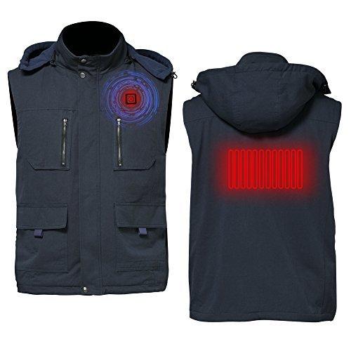 Greensha Unisex Men's Women's Winter Outdoor Active Quilted Padding Puffer Vests,Sleeveless Detachable Hood Waistcoat,Packable foldable Warm Lightweight Puffer Down Gilet (L, Navy) by Greensha