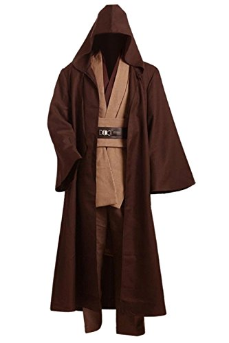Allten Men's Cosplay Costume Linen Cotton Halloween Tunic Brown L -