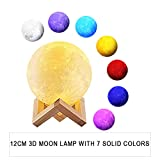 CoolKo Newest Night Light 12cm 3D Printed Lunar Moon Lamp, Rechargeable Home Decor Light, White, Warm Yellow Dimmable & 7 Touch Control Brightness Bedside Lamp