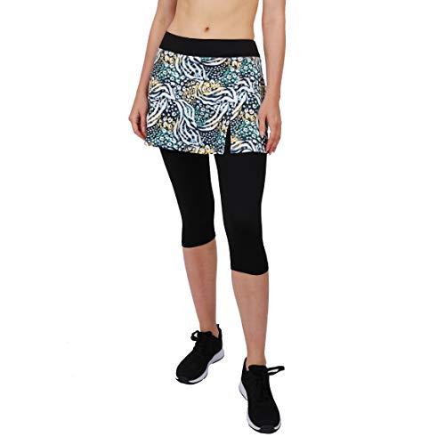 - HonourSport Women Skirted Capris Leggings,Side Slit Printed Tennis Skorts(Printed Leopard,M)