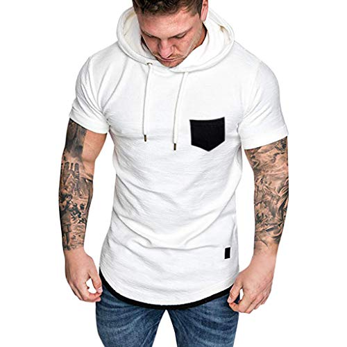 Hooded Tops for Men,LuluZanm Sale Slim Fit Muscle Short Sleeve Large Size Blouse Casual Pattern Solid Color Shirts White]()