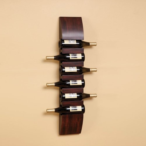 (Cape Craftsmen Hanging Wooden Wine Holder Rack, Display up to 6 Bottles - 6.75