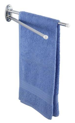 WENKO 17894100 Handtuchhalter Basic mit 2 Armen - bewegliche, runde Arme, Edelstahl rostfrei, 4.5 x 9.5 x 41 cm, Glänzend