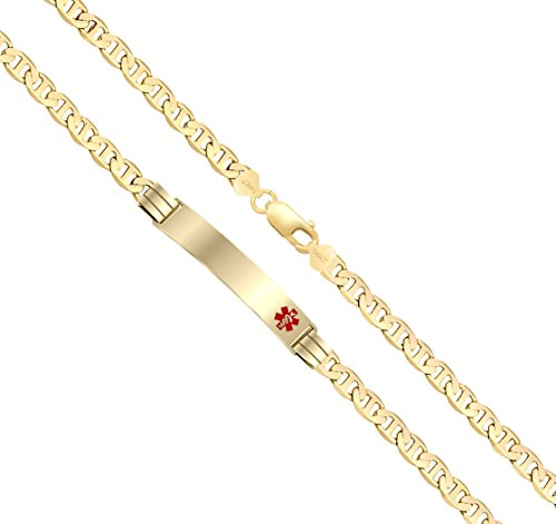 Customizable Ladies 14k Yellow Gold 3.3mm Anchor Medical Alert ID Bracelet with Free Engraving, 8in 14k Yellow Gold Ladies Bracelet