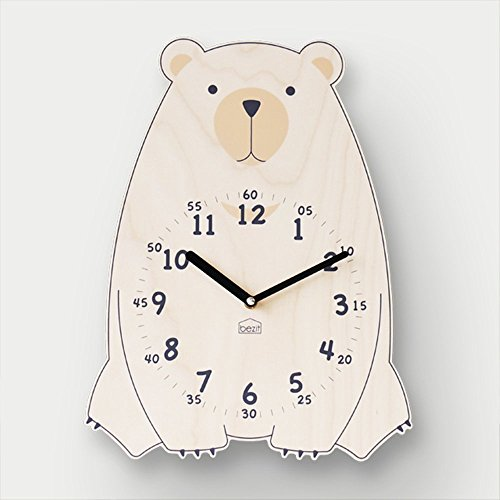 BEZIT Non-Ticking, Silent 11-Inch Wall Clock – Decorative, Modern, Clean, Cute, Kid-Friendly Design for Indoor, Office, Home, Baby Room (Brown Bear)