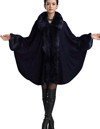 Aphratti Women's Faux Fox Fur Shawl Cloak Coat One Size Navy Blue
