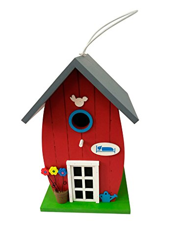 Multi-color Painted Wood Bird Hoouse Backyard Style Red