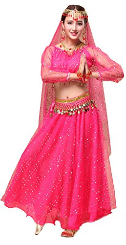 Girls Belly Dance Top Skirt Set Halloween Costume with Head Veil,Waist Chain (Fit 11-12 Years/12-13 Years, Hot Pink(Style 2)) ()