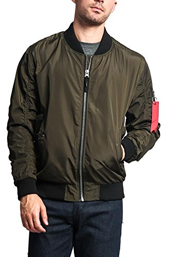 Victorious Men's Contrast Lightweight Bomber Flight Jacket JK752 - Olive - 2X-Large - I8A