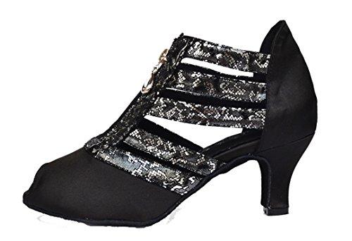 Tda Dames Ritsen Satijn Peep Toe Applicaties Latin Moderne Dansschoenen Zwart