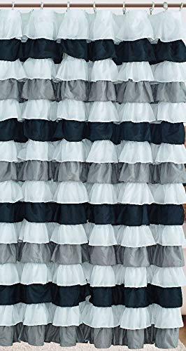 Waterfall Ruffled Fabric Shower Curtain (Black & - Grey Waterfall