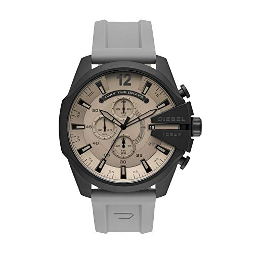 Diesel Men's Mega Chief Chronograph Black Stainless Steel DZ4496 (Gray Watches For Men)