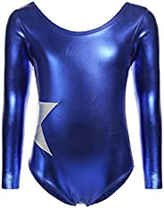 Arshiner Girl's Gymnastic Ballet Athletic Clothes Long Sleeve Solid Sparkle Leo