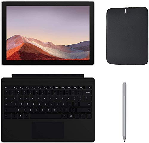 Newest Microsoft Surface Pro 7 12.3 Inch Touchscreen Tablet PC Bundle w/Type Cover, Silver Surface Pen & WOOV Bag, Intel 10th Gen Core i3, 4GB RAM, 128GB SSD, WiFi, Windows 10, Platinum (Latest Model)