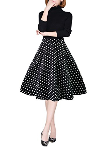 emondora Women Printed Flared Skirt Retro Casual 1950s Swing Pleated Midi Skirts Black Dots L