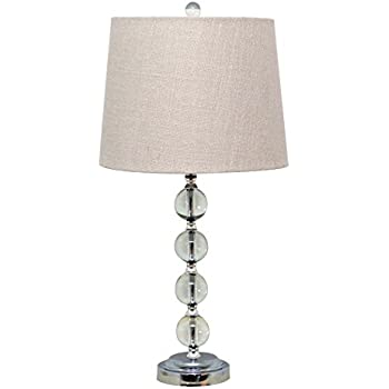 Stacked crystal balls table lamp with shade bedside lamp desk catalina 19356 000 contemporary crystal stacked ball table lamp with white linen shade mozeypictures Choice Image