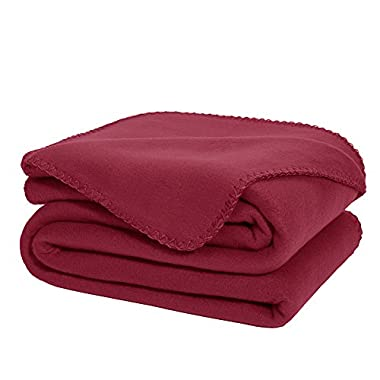 DOZZZ Super Soft Fleece Throw Blanket Burgundy Ultra Cozy Oversized Throw Light Weight Blanket Sofa/ Couch/ Travel Throw Blanket 50 x 70 Inch
