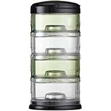 Innobaby Packin' Smart Stackable and Portable Storage System for Formula, Baby Snacks and more. 4 Stackable Cups in Black. BPA Free.
