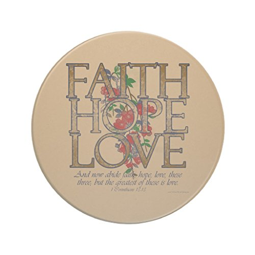 Zazzle Faith Hope Love, Floral Design with Bible Verse Sandstone Coaster by Zazzle