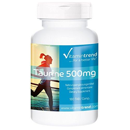 Taurin 500mg - mit Vitamin C - Aminosulfonsäure - 180 Tabletten - Großpackung für 1/2 Jahr
