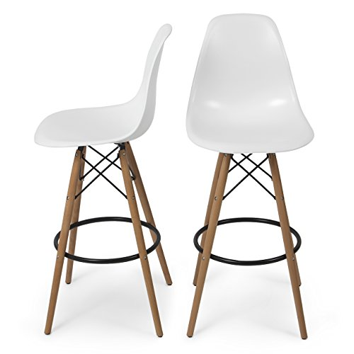 Belleze Set of (2) High Chair Bar Modern Stool Style DSW Counter Height Natural Wood Legs -White ()
