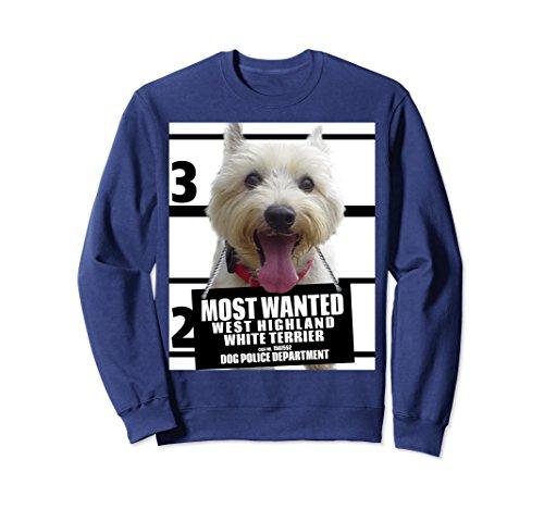 (Unisex Most Wanted West Highland White Terrier (Westie) Sweatshirt 2XL Navy)