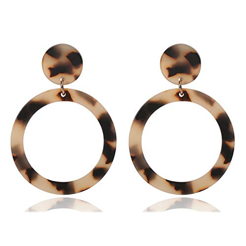 Boho Style Double Round Women Hoop Earrings Trendy Tortoiseshell Vintage Resin Marble Texture Jewelry,leopard