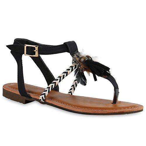Stiefelparadies Damen Sandalen Zehentrenner mit Blockabsatz Flandell  Schwarz Quasten