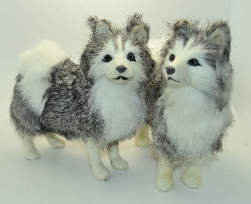 ZAMTAC Simulation Animal Standing Husky Dog 16x15cm Model Toy polyethylene & Furs Handicraft,Decoration Gift, Baby Toy d248