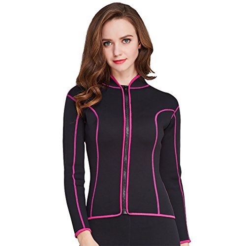 Lynddora Womens Long Sleeve 2MM Neoprene Diving Jacket Front Zipper Wetsuit Top Warm Protection (Black Pink, US M/Tag - Wetsuit Tops Best