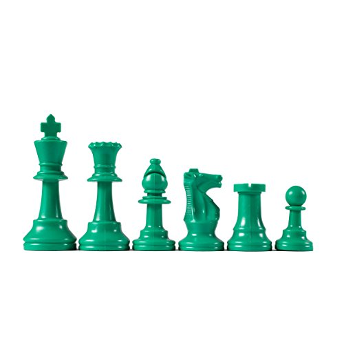 Wholesale Chess Triple Weighted Staunton Colored Pieces (Green)