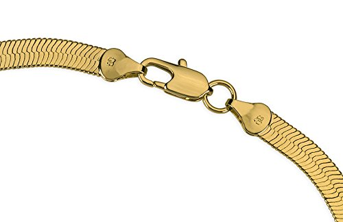 18K Gold Plated 6mm Herringbone Superflex Chain Bracelet, 8 inch