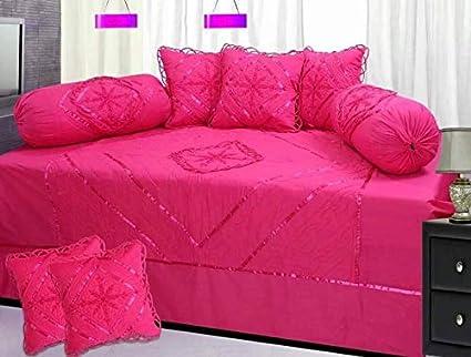 Gurnoor Embroidery Cotton Diwan Set (Set of 8)(Dark Pink)