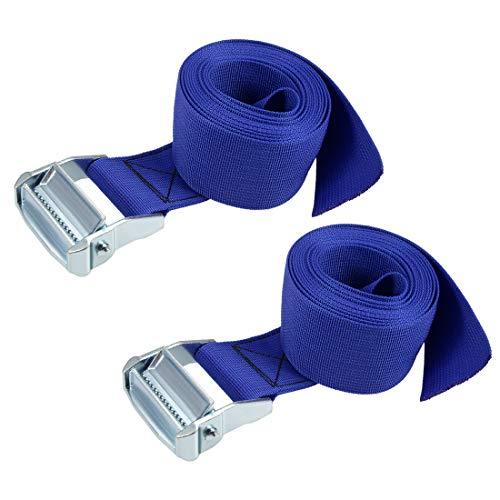 uxcell 荷物ストラップ ラッシングストラップ ベルト 荷物固定ロープ 荷物落下防止 3Mx5cm 500Kg ブルー タイダウンストラップ 2個入り