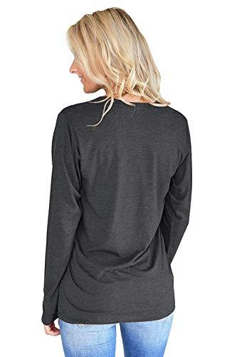 Shirts T Fashion Lettre Rond Tops Femmes Noir Sweat Col Automne Longues Hauts Pulls Imprim Blouse Tees Shirts Manches Printemps et Jumpers Zq4wa