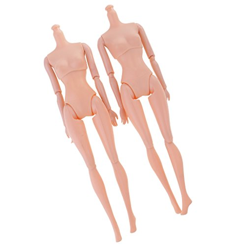 Doll Costume Diy (Jili Online 2pcs 11'' Nude Body for Barbies Dolls Kelly 12 Joints Doll Action Figure DIY Costume Girl Toys)
