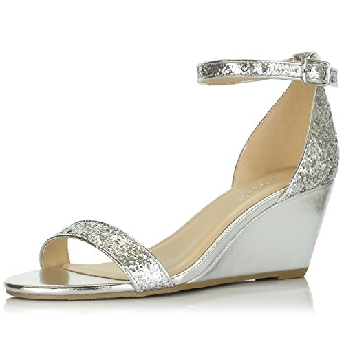 DailyShoes Women's Summer Fashion Design Ankle Strap Buckle Low Wedge Platform Heel Sandals Shoes, Silver Glitter, 6.5 B(M) US