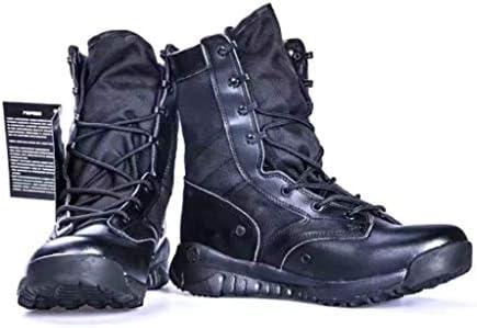 男子軽量グリッターレザー用アサルトブーツは暖かいレースアップスタイルの滑り止め耐摩耗耐久性に優れたラバーソールタクティカルブーツをキープ (色 : 黒, サイズ : 25 CM)
