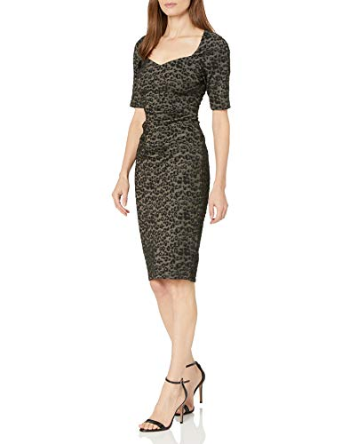 Adrianna Papell Women's Metallic Animal Print Sheath Dress with Sweetheart Neckline, Black/Gold, 14