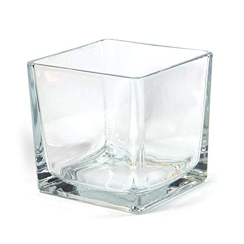 Vasefill 4-Pack Clear Square Glass Vase Tapered - Cube 6 Inch 6