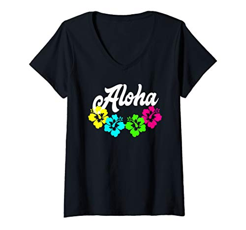Womens Aloha Blue Yellow Pink Green Hibiscus Flowers Lei Hawaii V-Neck T-Shirt