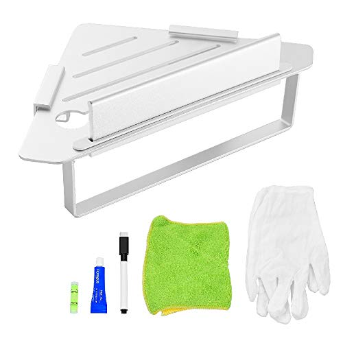 FORIOUS Bathroom Shower Corner Shelf Combine with Squeegee, Towel Ring and Robe Hooks, Kitchen and Shower caddy, Patented Glue + 3M Self-Adhesive, Wall Mounted, Aluminum, Matte