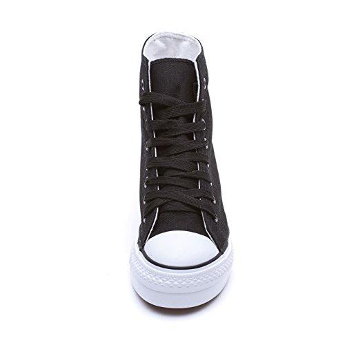 5 Ginnastica Tela Platform MForshop Interna Sneakers G565 Zeppa cm Scarpe nero Donna Sportive OqYa8